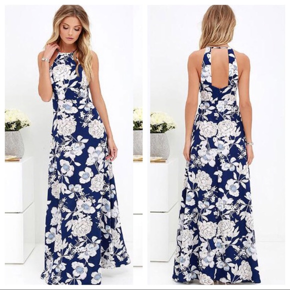 11bfe86350 🧡Sale💛 Blue Bayou Floral Print Halter Maxi Dress